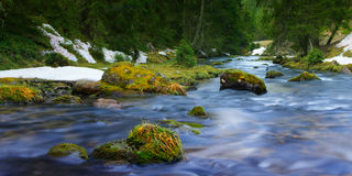 Flowing blue water of river Stock Images
