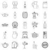 Flowing bowl icons set, outline style Royalty Free Stock Photo