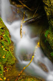 Flowing brook in slow motion. Slow motion blue of brook flowing in countryside Royalty Free Stock Photos