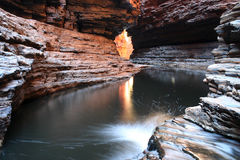 Flowing cave water. Famous Australian National destination. Rocky stream water surrounded with typical rocks. Australia Royalty Free Stock Photography