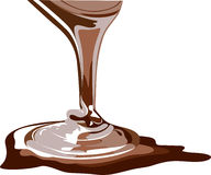 Flowing chocolate. Vector chocolate splash, real honey and brown sauce, vector royalty free illustration