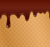 Flowing chocolate on wafer texture Royalty Free Stock Image