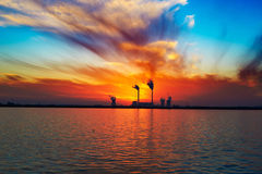 The flowing clouds sunset Stock Photography