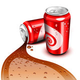 Flowing Cola can. Opened and closed red can with Cola flowing stock illustration