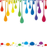 Flowing Color Drops Rainbow Colored Stock Photography
