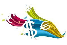 Flowing currency icon Royalty Free Stock Photography