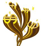 Flowing currency symbol Stock Photo