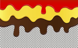 Flowing down chocolate, jam and honey on transparent background Stock Image