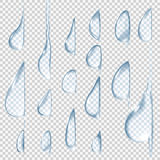 Flowing down drops.Transparent vector water drops set. Royalty Free Stock Photo