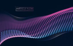 Flowing energy particles, wave of blurred lights. Blurred round. Lights vector effect illustration. 3d futuristic technology style Stock Photography