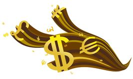 Flowing golden currency symbol Royalty Free Stock Images