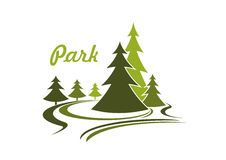 Flowing green park icon or emblem Royalty Free Stock Photo