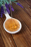 Flowing honey on spoon. Royalty Free Stock Photos