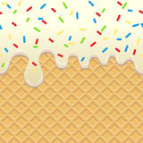 Flowing  Ice Cream on waffle Stock Photo