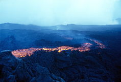 Flowing lava. Etna Sicily Italy Royalty Free Stock Images