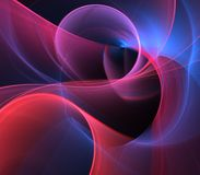 Flowing Layers Abstract. Flowing, arching and curling red and blue fiber textures - fractal abstract background Stock Photos