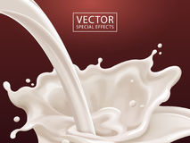 Flowing milk liquid. White liquid dripping from top isolated on scarlet background in 3d illustration Royalty Free Stock Images