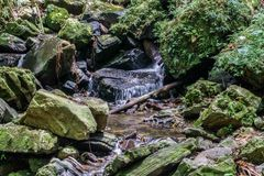 Flowing Mountain Stream. Mountain stream waterfall running free Royalty Free Stock Photo
