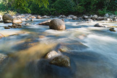 Flowing mountain stream with transparent water and stones. On bottom Royalty Free Stock Photos