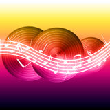 Flowing Music Notes. On vinyl record background. Please visit my portfolio for more Royalty Free Stock Images