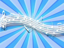 Flowing Music Notes. White flowing music notes on striped blue background. Please visit my portfolio for more Royalty Free Stock Photo