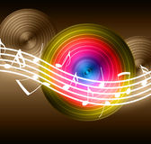 Flowing Music Notes on Vinyl Record Background Stock Photos