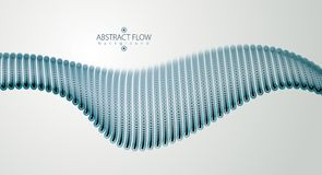 Flowing particles wave, dynamic sound motion. 3d vector illustra. Tion. Beautiful wave shaped array of blurred dots Stock Image