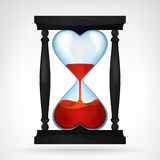 Flowing red love liquid in dual heart shaped hourglass design Stock Image