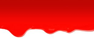 Flowing red paint. White background Stock Photos
