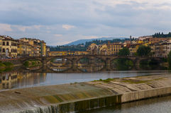Flowing rive area  flooding weir on the River Arno, Florence Royalty Free Stock Photography
