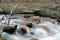 Flowing river. Scenic view of flowing river with slow motion blur Stock Photo
