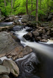 Flowing River. View of cascading river with small falls over rocks Stock Photos