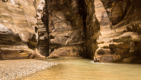 Flowing river in canyon of Wadi Mujib, Jordan Royalty Free Stock Images