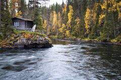 Flowing river flow calm at wider place. Fast flowing river flow calm at wider place Stock Photos
