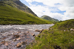 Flowing river at glencoe in scotland Royalty Free Stock Photo