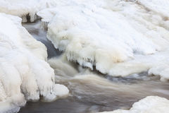 Flowing river and icicles in winter royalty free stock photos