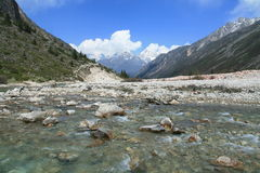 Flowing river in the rocky Riwuqie valley. Sichuan, China Royalty Free Stock Photo
