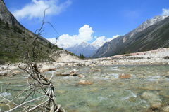 Flowing river in the rocky Riwuqie valley. Sichuan, China Royalty Free Stock Photography