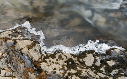 Flowing river water and Ice. River water flowing between small stones covered with a thin layer of Ice creating a serene nature background Stock Images