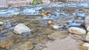 Flowing River at Zion National Park Utah Panning Shot stock video footage