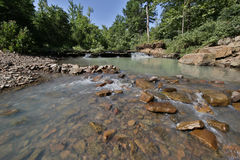 Flowing rocky creek clear clean water. Arkansas royalty free stock image