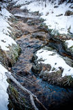 The flowing spring and stone. The clear spring water flowing over the stone in the valley creek Stock Image