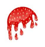 Flowing Strawberry Jam Isolated on White Background stock illustration