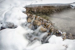 Flowing stream in winter Royalty Free Stock Images