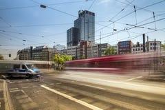 Flowing traffic. On the Graf-Adolf-Steet royalty free stock photos