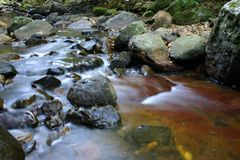 Flowing Water. Running stream over rocks Stock Photography