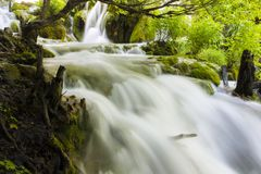 Flowing water. Fall at the plitvice lakes, Croatia Stock Images