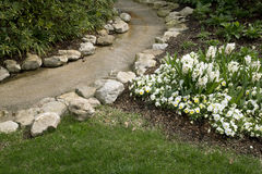 Flowing water around beautiful spring flower bed Royalty Free Stock Images
