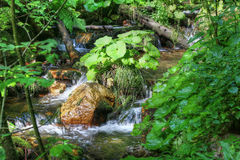 Flowing water between the boulders Stock Photography