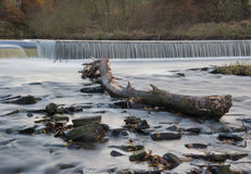 Flowing water cascading over a weir on yorkshire river Stock Photos